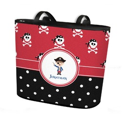 Pirate & Dots Bucket Tote w/ Genuine Leather Trim (Personalized)