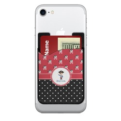Pirate & Dots 2-in-1 Cell Phone Credit Card Holder & Screen Cleaner (Personalized)