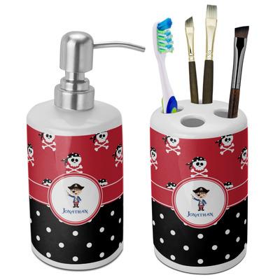 Pirate & Dots Ceramic Bathroom Accessories Set (Personalized)