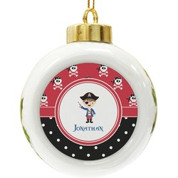 Pirate & Dots Ceramic Ball Ornament (Personalized)