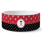 Pirate & Dots Ceramic Dog Bowl (Personalized)