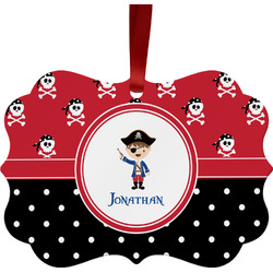Pirate & Dots Metal Frame Ornament - Double Sided w/ Name or Text