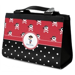 Pirate & Dots Classic Tote Purse w/ Leather Trim w/ Name or Text
