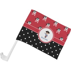 Pirate & Dots Car Flag - Small w/ Name or Text