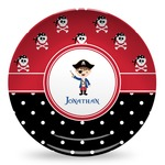 Pirate & Dots Microwave Safe Plastic Plate - Composite Polymer (Personalized)
