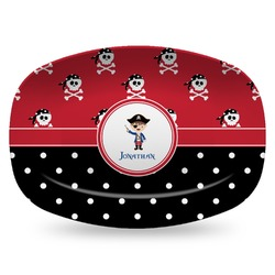 Pirate & Dots Plastic Platter - Microwave & Oven Safe Composite Polymer (Personalized)