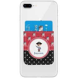 Pirate & Dots Genuine Leather Adhesive Phone Wallet (Personalized)