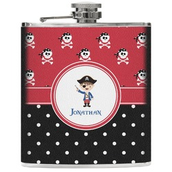 Pirate & Dots Genuine Leather Flask (Personalized)