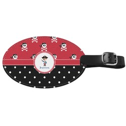 Pirate & Dots Genuine Leather Oval Luggage Tag (Personalized)