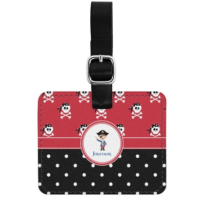 Pirate & Dots Genuine Leather Luggage Tag w/ Name or Text