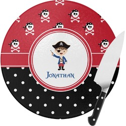 Pirate & Dots Round Glass Cutting Board (Personalized)
