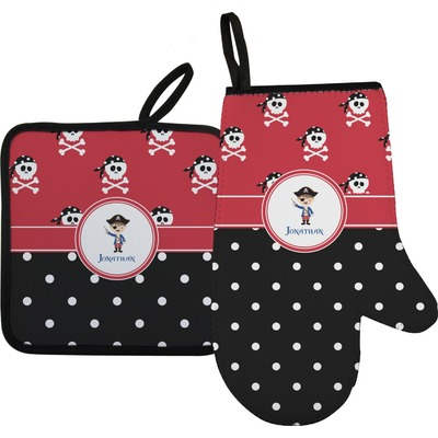 Pirate & Dots Right Oven Mitt & Pot Holder Set w/ Name or Text