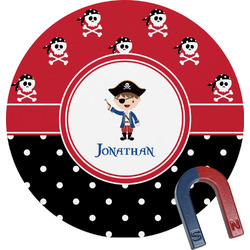 Pirate & Dots Round Magnet (Personalized)