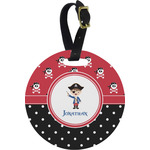 Pirate & Dots Round Luggage Tag (Personalized)