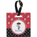 Pirate & Dots Square Luggage Tag (Personalized)