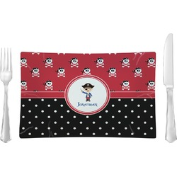 Pirate & Dots Rectangular Glass Lunch / Dinner Plate - Single or Set (Personalized)