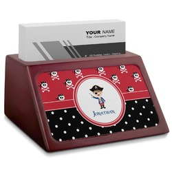 Pirate & Dots Red Mahogany Business Card Holder (Personalized)
