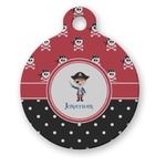 Pirate & Dots Round Pet Tag (Personalized)