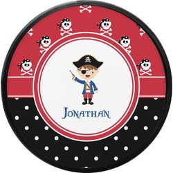 Pirate & Dots Round Trailer Hitch Cover (Personalized)