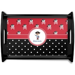 Pirate & Dots Black Wooden Tray (Personalized)