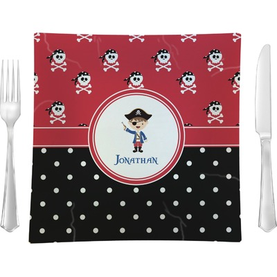 """Pirate & Dots 9.5"""" Glass Square Lunch / Dinner Plate- Single or Set of 4 (Personalized)"""