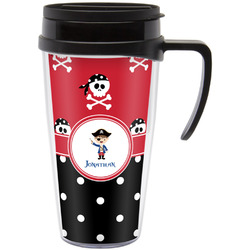 Pirate & Dots Travel Mug with Handle (Personalized)