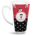 Girl's Pirate & Dots 16 Oz Latte Mug (Personalized)
