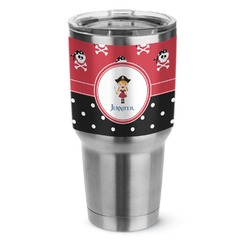 Girl's Pirate & Dots Stainless Steel Tumbler - 30 oz (Personalized)