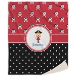 Girl's Pirate & Dots Sherpa Throw Blanket (Personalized)