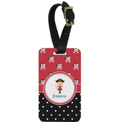 Girl's Pirate & Dots Metal Luggage Tag w/ Name or Text
