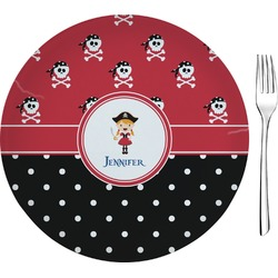 """Girl's Pirate & Dots Glass Appetizer / Dessert Plate 8"""" (Personalized)"""
