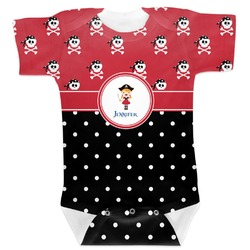 Girl's Pirate & Dots Baby Bodysuit (Personalized)