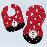 Girl's Pirate & Dots Baby Bib & Burp Set w/ Name or Text