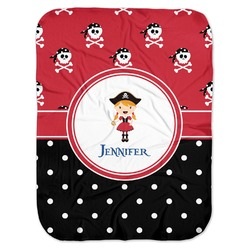 Girl's Pirate & Dots Baby Swaddling Blanket (Personalized)