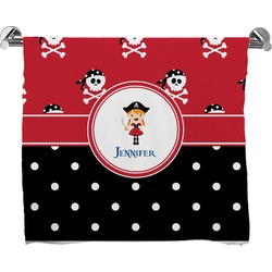 Girl's Pirate & Dots Full Print Bath Towel (Personalized)