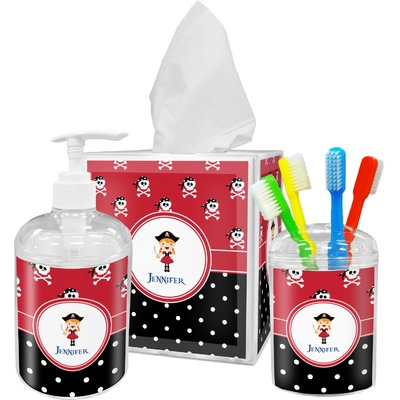 Girl's Pirate & Dots Acrylic Bathroom Accessories Set w/ Name or Text