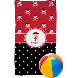Girl's Pirate & Dots Beach Towel (Personalized)