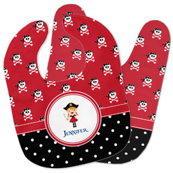 Girl's Pirate & Dots Baby Bib w/ Name or Text
