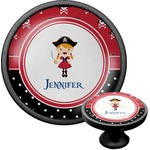 Girl's Pirate & Dots Cabinet Knob (Black) (Personalized)