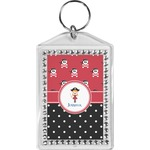 Girl's Pirate & Dots Bling Keychain (Personalized)