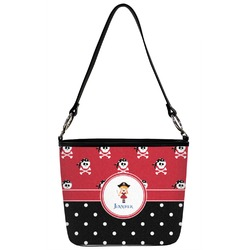 Girl's Pirate & Dots Bucket Bag w/ Genuine Leather Trim (Personalized)