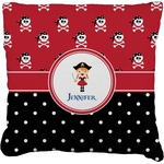 Girl's Pirate & Dots Faux-Linen Throw Pillow (Personalized)