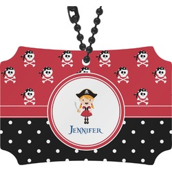 Girl's Pirate & Dots Rear View Mirror Ornament (Personalized)