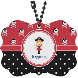 Girl's Pirate & Dots Rear View Mirror Decor (Personalized)