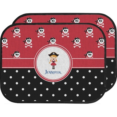 Girl's Pirate & Dots Car Floor Mats (Back Seat) (Personalized)
