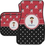 Girl's Pirate & Dots Car Floor Mats Set - 2 Front & 2 Back (Personalized)