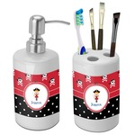 Girl's Pirate & Dots Bathroom Accessories Set (Ceramic) (Personalized)