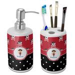 Girl's Pirate & Dots Bathroom Accessories Set (Ceramic) (Personalized)