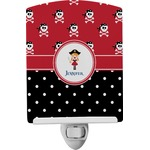 Girl's Pirate & Dots Ceramic Night Light (Personalized)