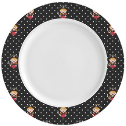 Girl's Pirate & Dots Ceramic Dinner Plates (Set of 4) (Personalized)